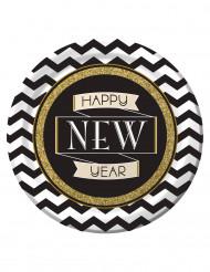 8 piatti di cartone Happy New Year 23 cm