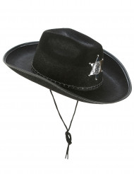 Cappello sceriffo nero per adulti