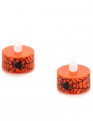2 candele a LED scalda vivande arancioni con ragnatele