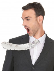 Cravatta bianca con paillettes