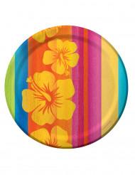 8 piatti di cartone Hawaii 23 cm