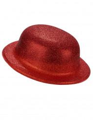 Cappello a bombetta paillettato rosso per adulto