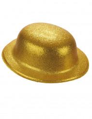 Cappello a bombetta in plastica con brillantini oro adulto