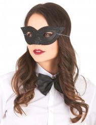 Maschera veneziana nera con brillantini adulto