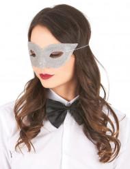 Maschera veneziana argentata con brillantini adulto