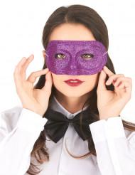 Maschera di plastica con brillantini viola adulto