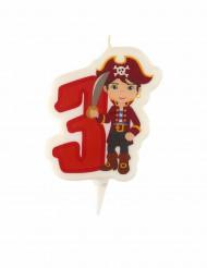 Candelina di compleanno pirata numero 3