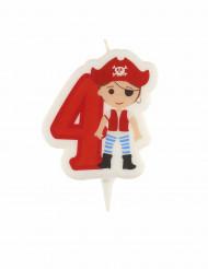 Candelina di compleanno pirata numero 4