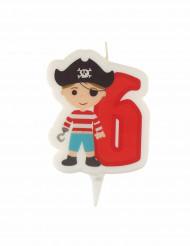 Candelina di compleanno pirata numero 6