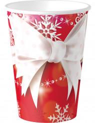 8 bicchieri Fiocco di Natale in cartone 250 ml