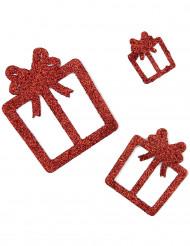 6 decorazioni da tavola pacchi regalo rossi