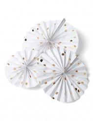 3 rosoni bianchi a pois oro da 30, 25, 20 cm
