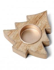 Portacandele a forma di abete in legno con paillettes color rame di 10,5 cm