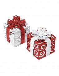 1 pacchetto regalo bianco e rosso da 7 cm