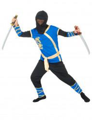 Costume da ninja blu e dorato da bambino