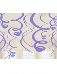 12 decorazioni a spirale lilla