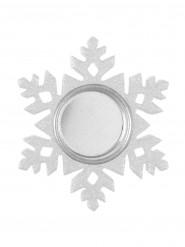 Porta candela fiocco di neve bianco