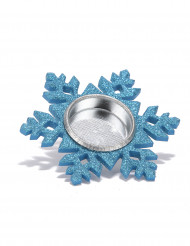 Portacandela fiocco di neve azzurro