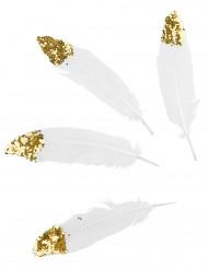 6 piume bianche con paillettes dorate