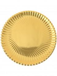 10 piatti di cartone metallizzati color oro 23 cm