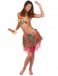 Gonna hawaiana con frange multicolor
