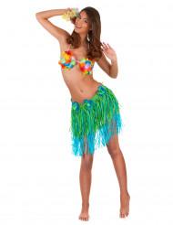 Gonna hawaiana corta verde e blu con fiori per adulto