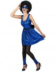 Costume disco con paillettes blu da donna