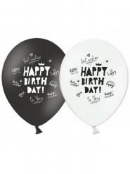 6 palloncini Happy Birthday neri e bianchi