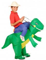 Travestimento da esploratore a dorso di dinosauro