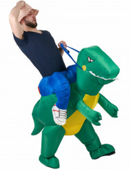 Costume gonfiabile esploratore con dinosauro per adulto