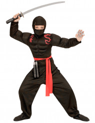 Costume ninja nero muscoloso per bambino