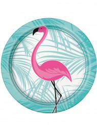 8 piattini in cartone fenicottero rosa 17 cm