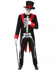 Costume da scheletro nero e rosso per uomo