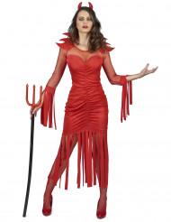 Costume da diavolessa con frange per donna