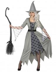 Costume grigio da strega con nuvole da donna