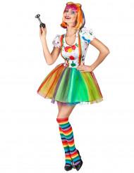 Travestimento da clown pittore multicolore per donna