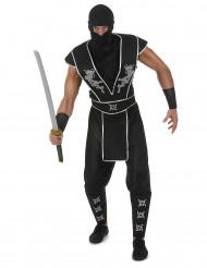 Costume da ninja nero e argento per adulto