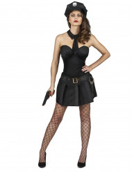 Costume nero e sexy da poliziotta donna