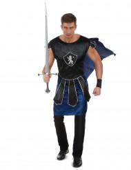 Costume da cavaliere nero e blu per adulto