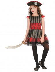 Costume pirata rosso e nero per bambina