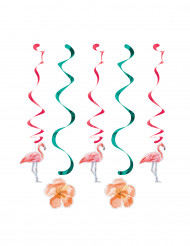 5 decorazioni a spirale con fenicotteri