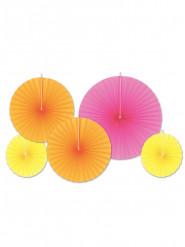5 rosoni di carta fluo rosa giallo arancio
