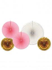 5 rosoni di carta rosa dorati e bianchi