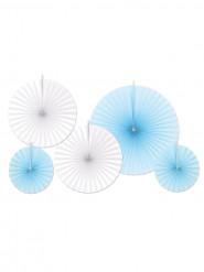 5 rosoni di carta blu e bianchi
