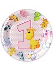 8 piatti in cartone animali 1 anno bimba 23 cm