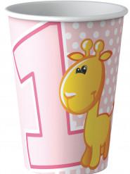 8 bicchieri in cartone animali 1 anno bimba