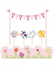 Kit di decorazioni per torta animali 1 anno bimba