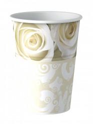 8 bicchieri di cartone rose bianche