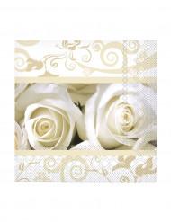 20 tovaglioli piccoli di carta rose bianche