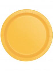 20 piattini in cartone giallo girasole 17 cm